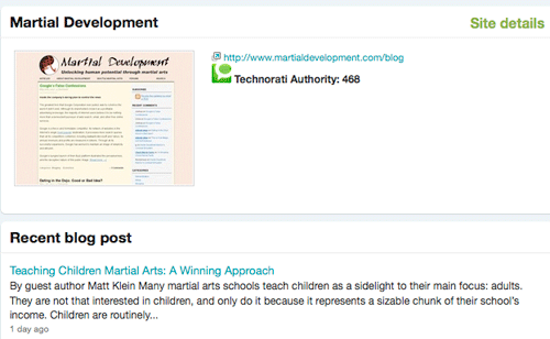 Screenshot of Martial Development, a very successful martial arts blog.