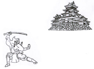 samurai with castle in background