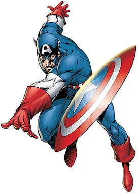 Captain America with his mighty shield.