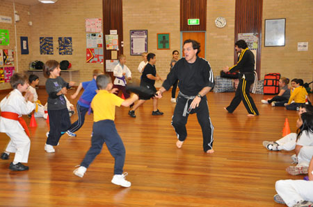A martial arts instructor in action