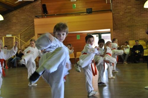 Kids improving their balance through martial arts
