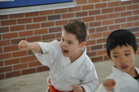 A child learning self-discipline through martial arts