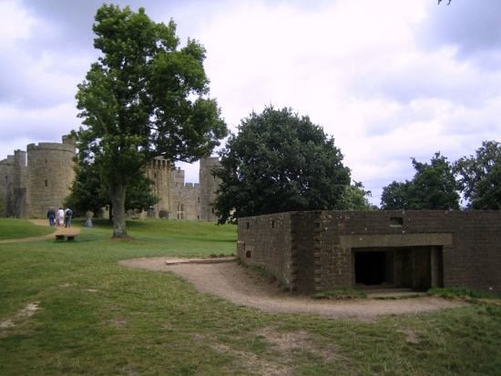 Bodium Castle in the background, with the more modern gun emplacement used in WWII in the foreground.